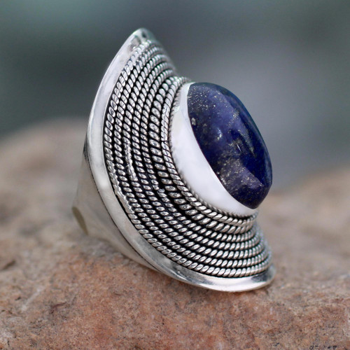 Sterling Silver Lapis Lazuli Ring from India 'Jaipur Blue'