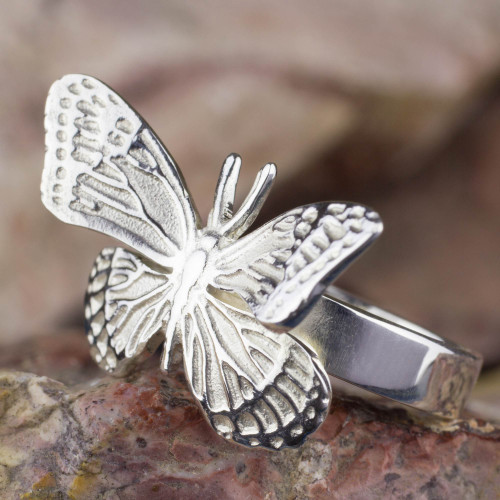 Fair Trade Taxco Silver Butterfly Ring 'Monarch Butterfly'