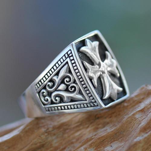 Cross Signet Sterling Silver Ring for Men 'Brave Knight'