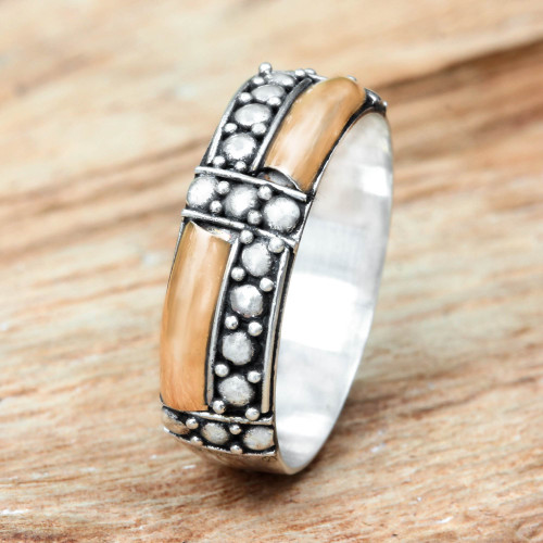 Balinese Artisan Crafted Gold Accent Ring 'Journey'