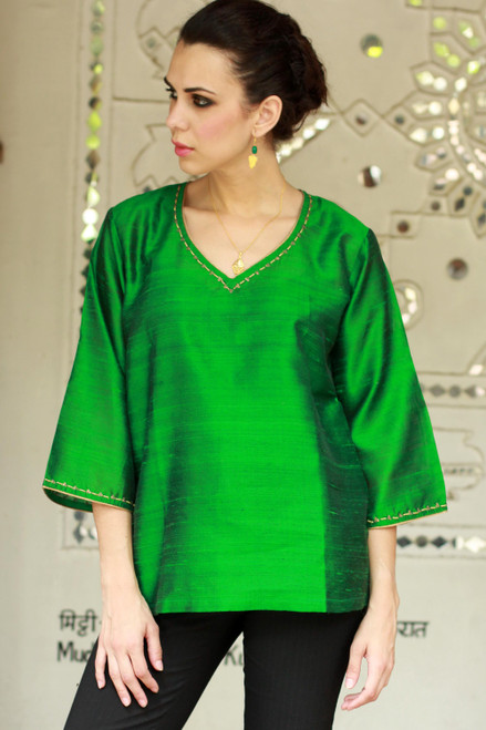 Embellished Silk Tunic Blouse from India 'Grand Emerald'