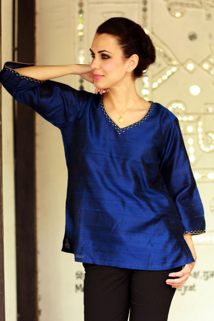 Embellished Silk Tunic Blouse from India 'Grand Sapphire'