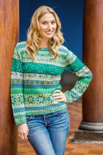 Multicolor Alpaca Sweater in Greens and Blues 'Cozy Forest'