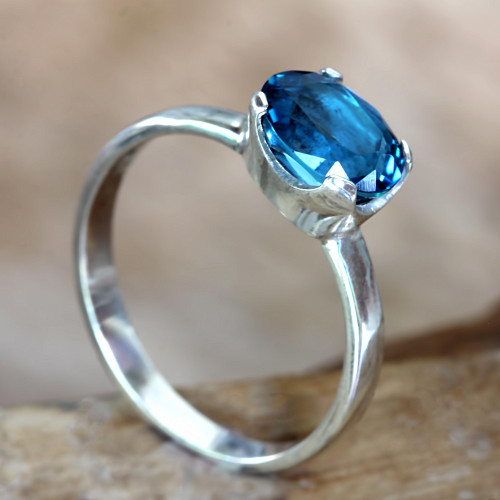 Fair Trade Blue Topaz Solitaire Ring 2 cts 'Pacific Glory'