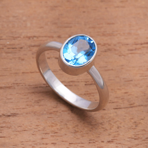 Blue Topaz and Sterling Silver Ring Crafted in Bali 'True Emotion'