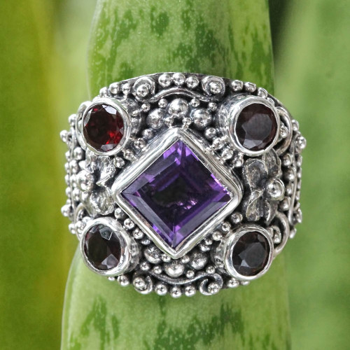 Large Silver Ring with Amethyst and Garnet 'Royal Balinese'