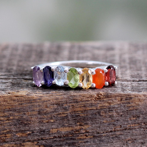 Multi Gemstone Sterling Silver Ring Chakra Jewelry 'Positivity'