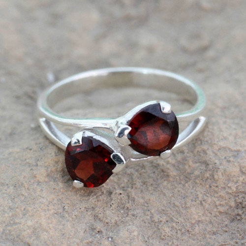 Garnet and Sterling Silver Ring Handcrafted Jewelry 'Encounters'