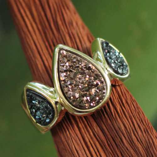Brazilian Drusy Gold Plated Ring 'Sparkling Life'
