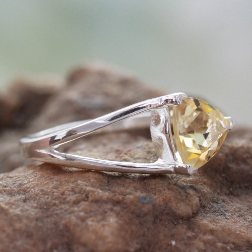 Solitaire Citrine Ring Crafted in Sterling Silver 'Love Triangle'