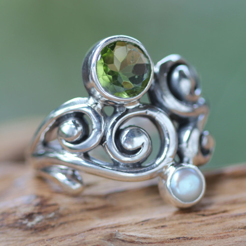Artisan Crafted Peridot and Pearl Ring 'Cloud Song'