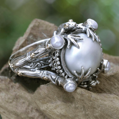 Pearl Sterling Silver Ring with Gold Accents 'Tropical Frogs'