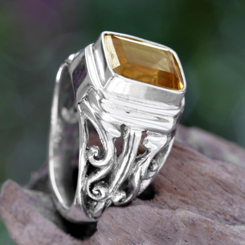 4 Carat Citrine Ring from Bali 'Savannah Evening'