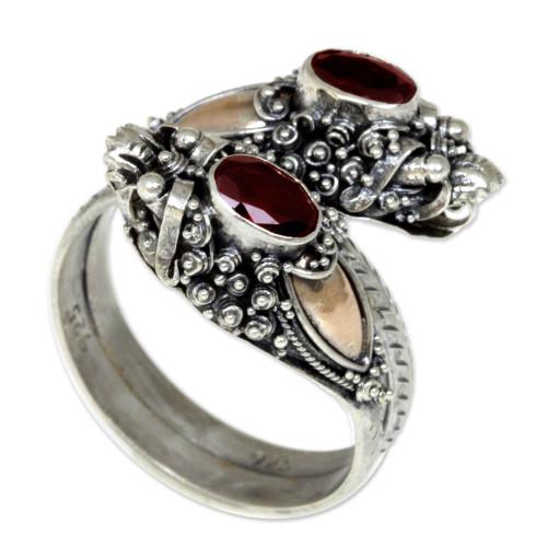 Gold Accent Garnet Dragon Ring 'Twin Dragon'
