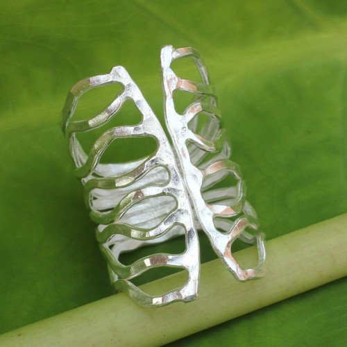 Thai Hammered Silver Wrap Ring 'Monarch'