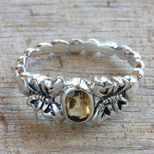 Hand Crafted Citrine Sterling Silver Butterfly Cocktail Ring 'Honey and Butterflies'