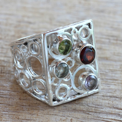 Multi-gemstone Sterling Silver Cocktail Ring from Bali 'Color Bubbles'