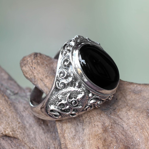 Handcrafted Onyx and Sterling Silver Om Ring for Men 'Black Om Kara'