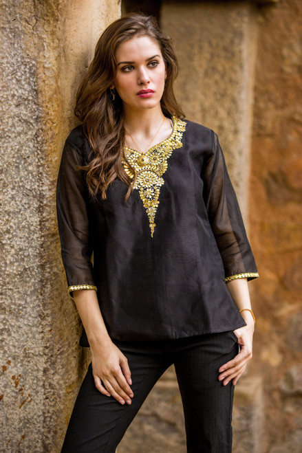 Dressy Black Beaded and Embroidered Cotton and Silk Tunic 'Midnight Princess'