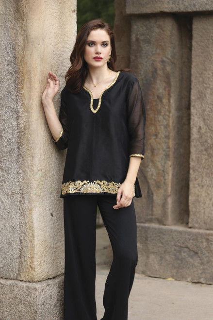 Black Beaded Gota Embroidery Cotton Blend Tunic from India 'Midnight Jewels'