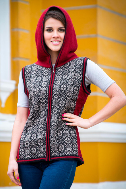 Peruvian Artisan Crafted 100 Alpaca Hooded Floral Vest 'Floral Glory'