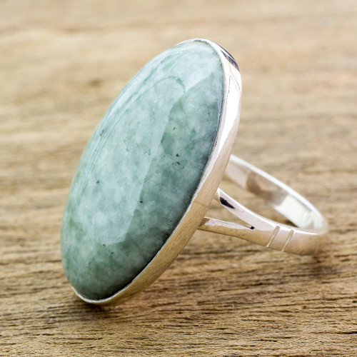 Handcrafted Minimalist Forest Green Jade and Silver Ring 'Shades of Green'