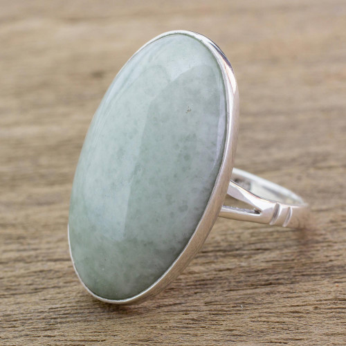 Handcrafted Minimalist Light Green Jade and Silver Ring 'Pale Green Tonalities'
