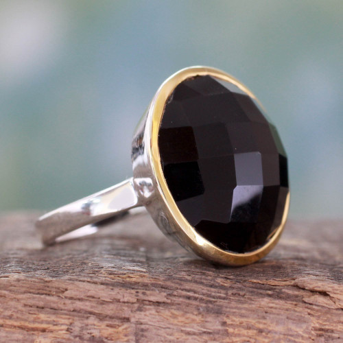 18k Gold Accented Onyx and Sterling Silver Cocktail Ring 'Mystical Allure'