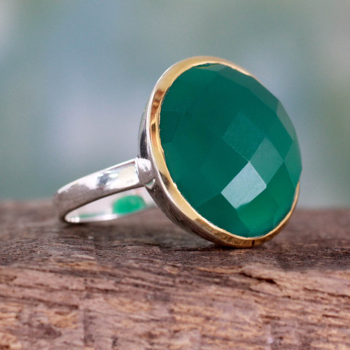 Cocktail Ring with Green Onyx in Sterling Silver and Gold 'Verdant Allure'