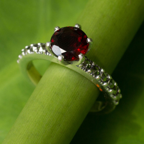 Thai Sterling Silver Ring with Garnet and Marcasite 'Forever Love'