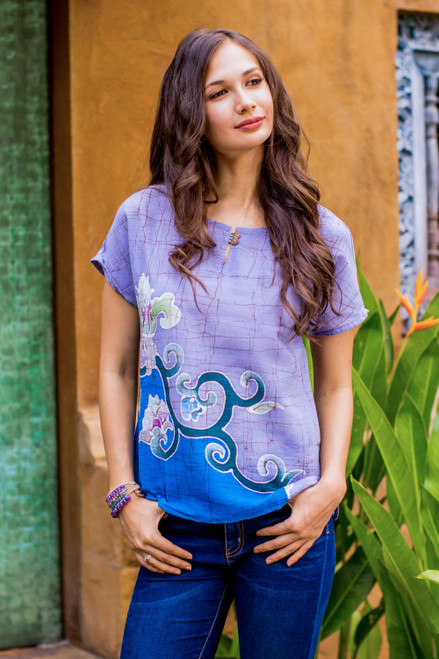 Handcrafted Batik on Cotton Floral Sheer Women's Blouse 'Thai Spring'