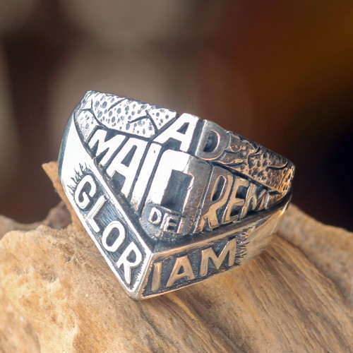 Artisan Crafted Men's Spiritual Ring in Sterling Silver 'Ad Maiorem Dei Gloriam'