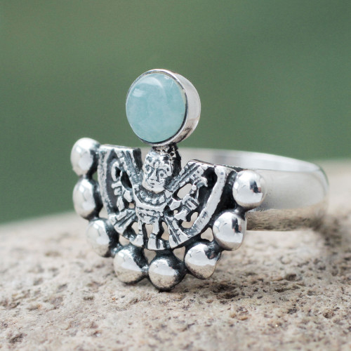 Hand Made Inca Theme Pale Green Andean Opal Silver Ring 'Iridescence'