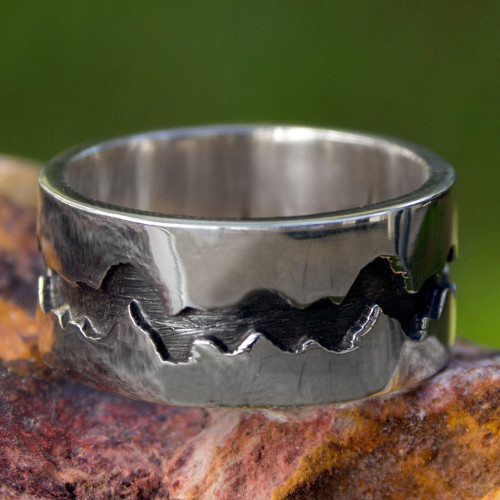 Men's Handmade Band Ring of Taxco Silver 950 'Dark River'