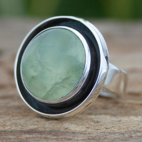 Prehnite and Sterling Silver Ring Taxco Jewelry Art 'Verdant Glow'