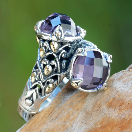 5-carat Amethyst Sterling Silver Ring from Bali 'Twin Lilies'