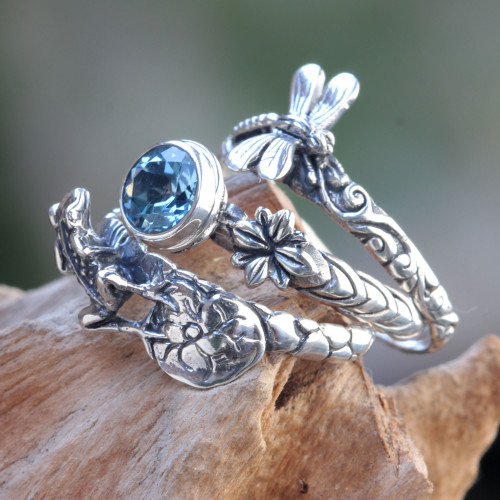 Dragonfly and Frog on Silver Blue Topaz Stacking Rings 3 'Garden of Eden'