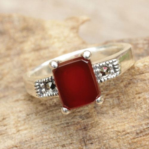 Thai Marcasite and Red Onyx Cocktail Ring 'Rose Wine'