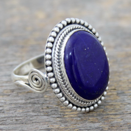 Sterling Silver Cocktail Ring with Lapis Lazuli from India 'Royal Blue Glow'