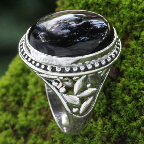 Onyx and Silver Ring from Indonesia 'Black Bamboo'