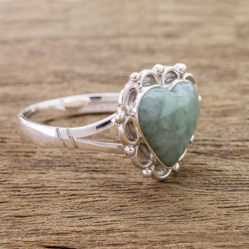 Jade Hearts on Sterling Silver Handcrafted Ring 'Zinnia Love'