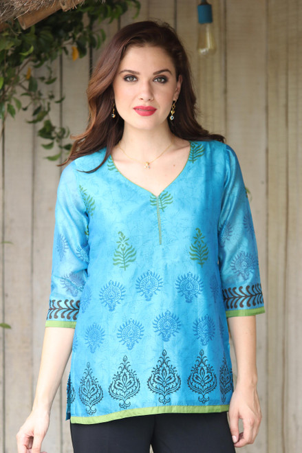 Cotton Silk Chanderi Tunic in Turquoise with Block Prints 'Turquoise Temptress'
