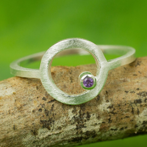 Amethyst Thailand Handcrafted Sterling Silver Ring 'Gazing at the Moon'
