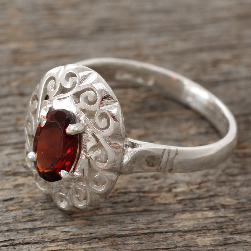 Artisan Crafted Garnet Ring in Sterling Silver 'Festivity in Red'
