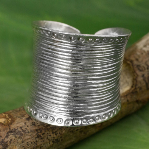 Sterling Silver Wide Wrap Ring Hand Crafted in Thailand 'Hill Tribe Spectacular'