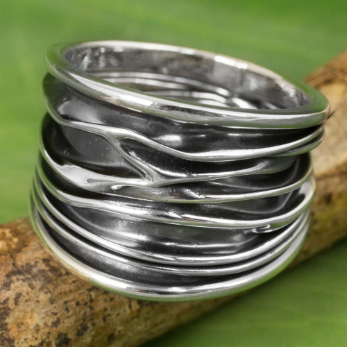 Wide Band Ring in Sterling Silver Hand Crafted in Thailand 'The River'