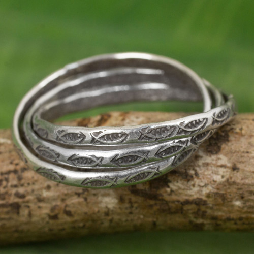Set of 3 Interlinked Hill Tribe Silver Rings 'Three Karen Rivers'