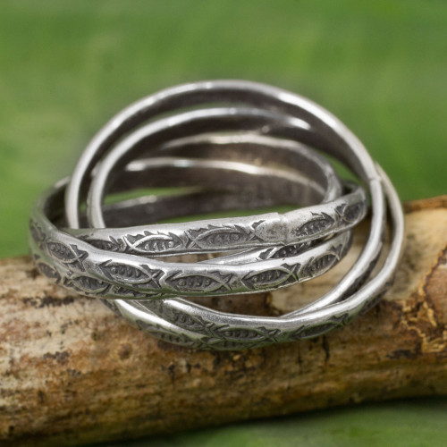 Five Interlinked Fish Theme Hill Tribe Silver Rings 'Five Karen Rivers'