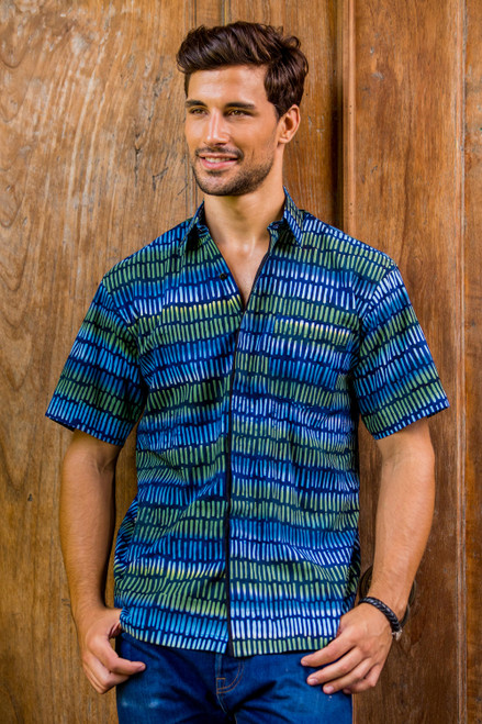 Men's Blue Cotton Button Down Shirt with Hand Stamped Batik 'Oceanic Voyager'
