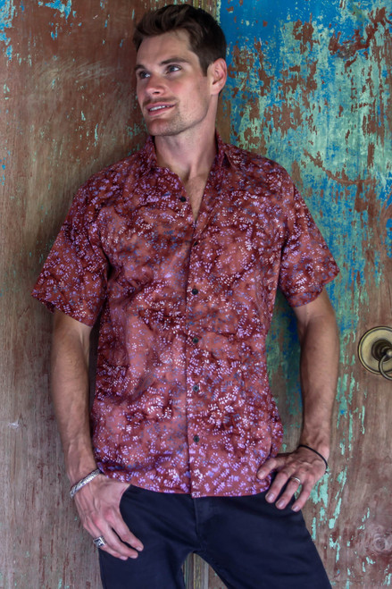 Fair Trade Men's Cotton Batik Shirt in Reds from Bali 'Light and Shadow'